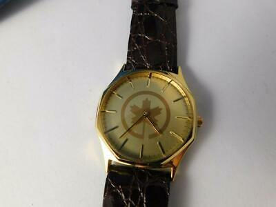 Air Canada Airline Watch Advertising Leather Band Gold Color Face Maple Leaf