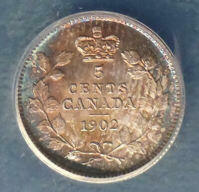 1902 ANACS MS 62 Canada Sterling Silver 5 Cent Coin, Nice Blue Color Tone