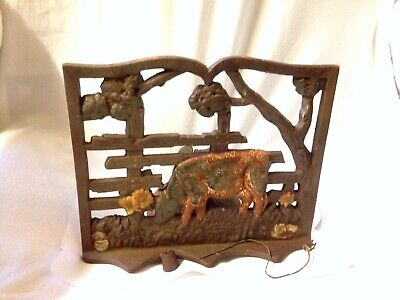 Vintage Cow Farm / Barn Wrought Iron Door / Dinner Bell With Original Ringer