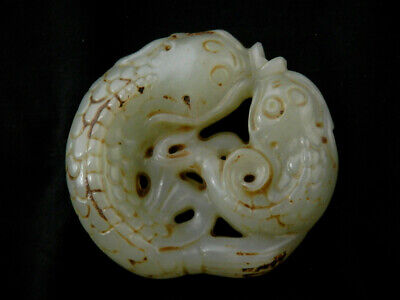 Lovely Chinese Nephrite Jade *2Fishes* Pendant X083