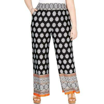 NY Collection Womens Pants Black Size 2X Plus Wide Leg Smocked Stretch $54 293