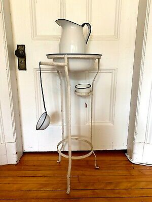 Victorian Metal Wash Stand ~ 4 Piece Enamelware Set