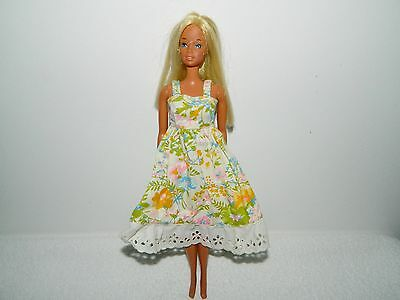 Lovely Barbie Size Handmade Clone Doll Flowered Sun Dress with Lace Trim