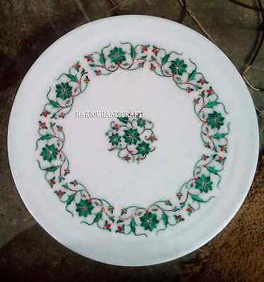 "12"" Marble White Round Plate Real Malachite Stone Inlay Mosaic Table Decor H2802"