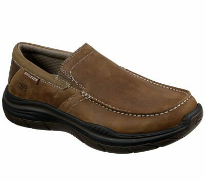 SKECHERS BROWN SHOES Men Memory Foam Slip On Comfort Casual