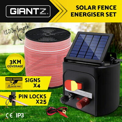 Giantz 3km Solar Electric Fence Energiser + 1200M Tape Wire Goat Horse Energizer