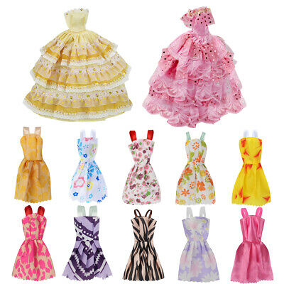 12Pcs Gown Dress Clothes Set For Barbie Dolls Wedding Party Prom Causal Decor~