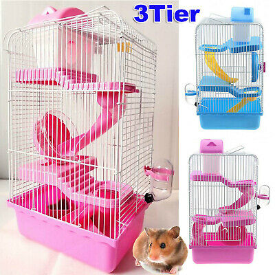 3-Tier Hamster Cage Rodent House Gerbil Mice Mouse Cages Animal Play Home UKP3