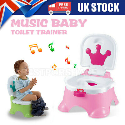 Baby Toddler Kids Training Potty 3 in 1 Toilet Portable Music Training Seat UK