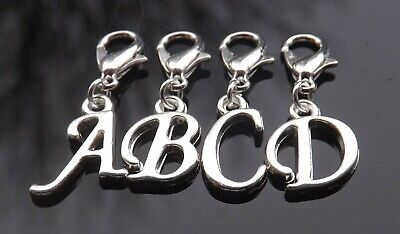 Personalised Initial Clip On Charm - Silver Plated Scroll Letter for Bracelets