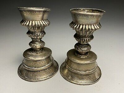 Antique Chinese Southeast Asian Hand Chased Silverplate Candle Holders