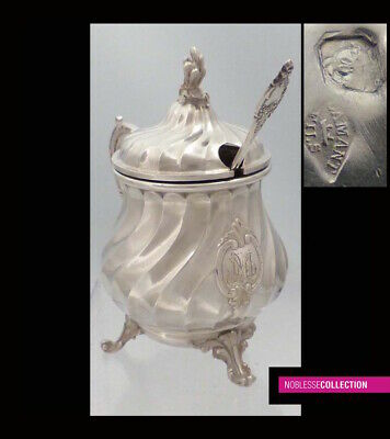 GORGEOUS ANTIQUE 1880s FRENCH STERLING SILVER & VERMEIL MUSTARD POT & SPOON
