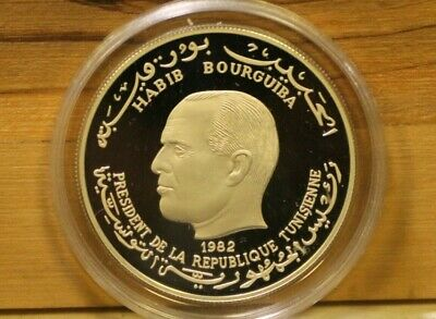 TUNISIA 5 Dinars Proof Habib Bourguiba International Year of the Child 1982