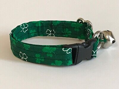 WHITE AND GREEN CLOVERS AND SHAMROCKS CAT OR KITTEN COLLAR (you choose the size)