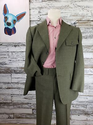 Vintage 1970s Hart Schaffner & Marx Mens Suit Retro Green Wool Suit 42R 34x30