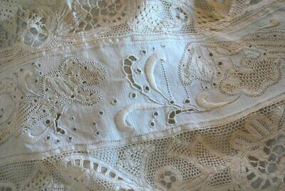 Antique Estate Boudoir Pillow With Old Laces And Embroidery & Linen
