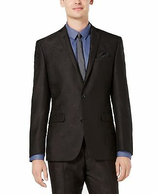 Bar III Mens Suit Jacket Black Size 40 Slim Fit Jacquard Two Button $425 040