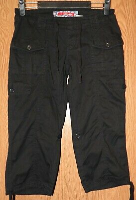 Girls Black Unionbay Flat Front Capri Pants or Shorts Size 14 very good