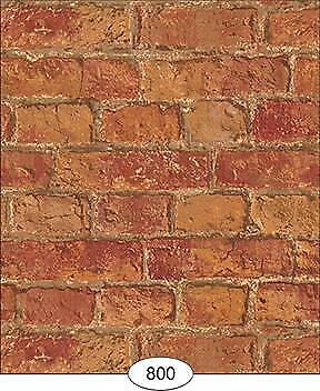 Miniature Dollhouse Wallpaper Weathered Brick Red - 0800
