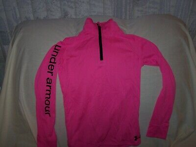 Girls Under Armour Pink 1/4 Zip Long Sleeve ALL SEASON GEAR Shirt Small LOOSE