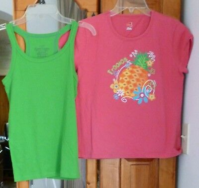 FADED GLORY Green Racerback Tank HANES Pink Tropical T-Shirt S/S Girl Size XL