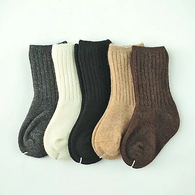 AU New 5 Pairs Baby 98%Wool Cashmere Thick Warm Solid Boy Girls Kids Socks 0-4Y