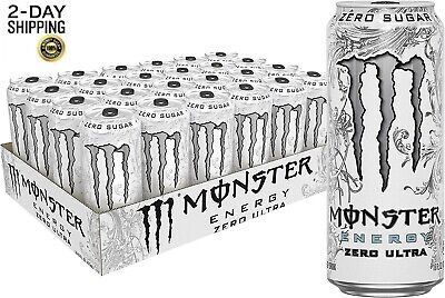 NEW Monster Energy Zero Ultra Sugar Free Energy Drink 16 Ounce Pack of 24