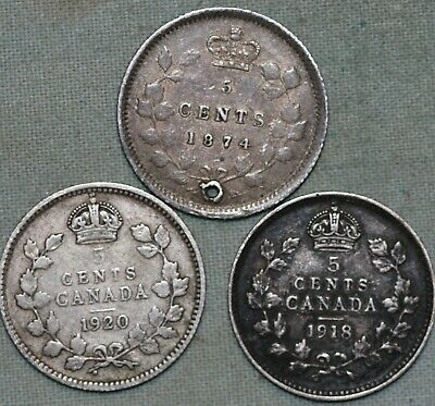 Three Canada 5 Cent Coins~ Silver~ 1874 (holed),1918, & 1920~Combined S. & H.