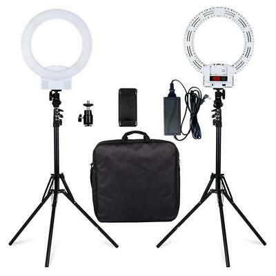 "12"" Dimmable LED Ring Light and 2m Light Stands 6000k Camera Photo Video White"