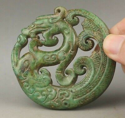 Chinese old natural jade hand-carved statue dragon pendant 2.8 inch