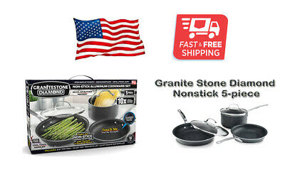 New Granite Stone Diamond 12 Piece Non Stick Cookware Set Bundle 450degrees 125 00 Picclick