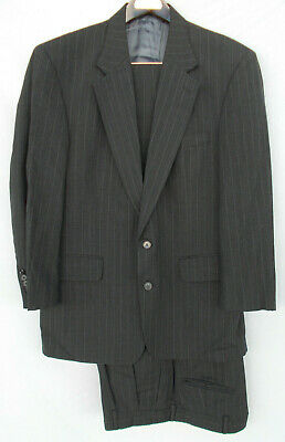 Lands End men 2 Button Suit size 42R 36x30 Pleat suspender buttons pants Wool
