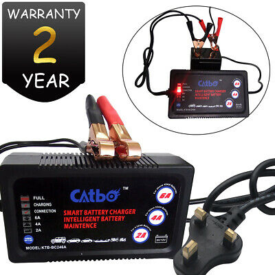 12 Volt 6 Amp 6V 2A Automatic Intelligent Battery Charger Trickle Fast Car Van
