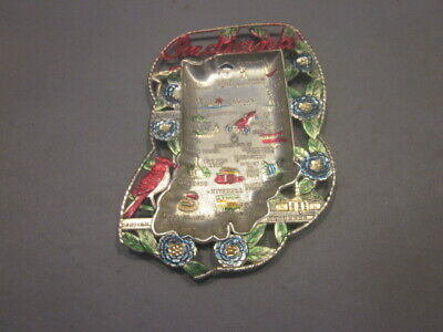 Vintage Souvenir Metal Ashtray Collector Plate (Japan) INDIANA