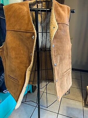 Schott NYC Rancher Authentic Western Styling Sherpa Vest XL