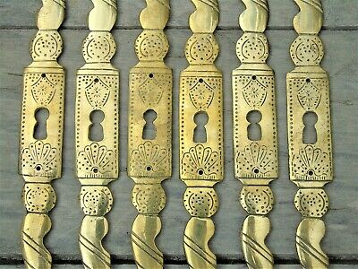 French Antique Brass Key Escutcheons Keyhole Armoire Cabinet 3 Pairs Fabulous