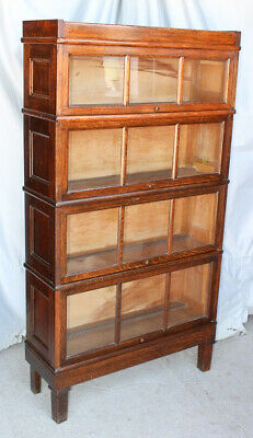 Antique Macey Oak 4 High Sectional Arts & Crafts Mission Bookcase