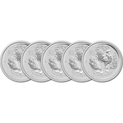 2017 P Australia Silver Lunar Year of the Rooster (1 oz) $1 - BU - Five 5 Coins