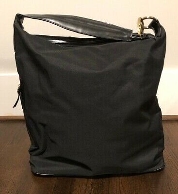 "Large 16"" Black Canvas & Leather Travel Carry-On Bag, Tote, Duffle, Holdalls"