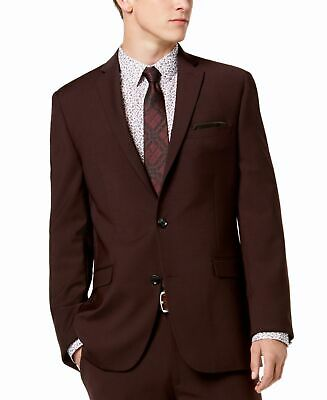 Bar III Mens Blazer Wine Red Size 34 Short Slim Fit Two Button Wool $425 #020