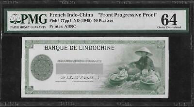 French Indochina P-77pp1 50 Piastres 1945 Progressive Proof PMG 63/64