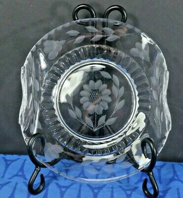 W J Hughes CORNFLOWER Candy Dish Paden City Glass curved beaded edges