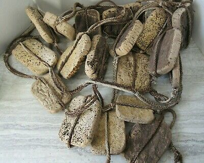 "20 Old Antique Nova Scotia Fishing Net Corks Floats and Rope 6"" Square"