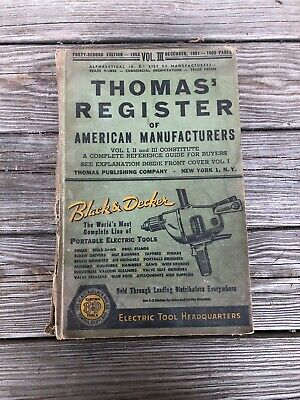 Vintage 1951 Thomas Register Of American Manufacturers 42Nd Edition Vol.iii