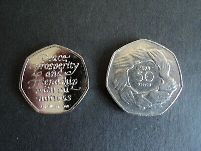 2020 BREXIT 50p COIN FROM SEALED BAG AND A 1973 EEC ENTRY RING OF HANDS 50p COIN
