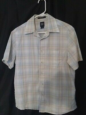 Gap Mens Shirt Size Small white and tan Button Front short Sleeve