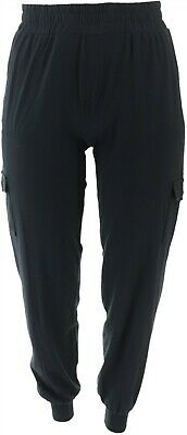 AnyBody Loungewear Tall Cozy Knit Cargo Jogger Pants Black S NEW A310169