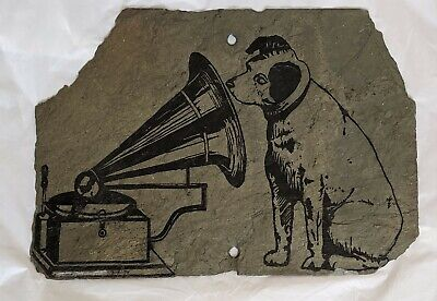 """Dog with Gramophone His Masters Voice on Slate Stone Print Picture 10 x 14"""""""