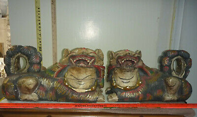 Antique PAIR Large WOOD Carved Asian Temple Lion/Foo Dogs - Each ~15L x 9 x 9""