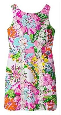 NWOT Lilly Pulitzer Target Sz 12 Shift Dress Nosey Posie Gold Exposed Zipper
